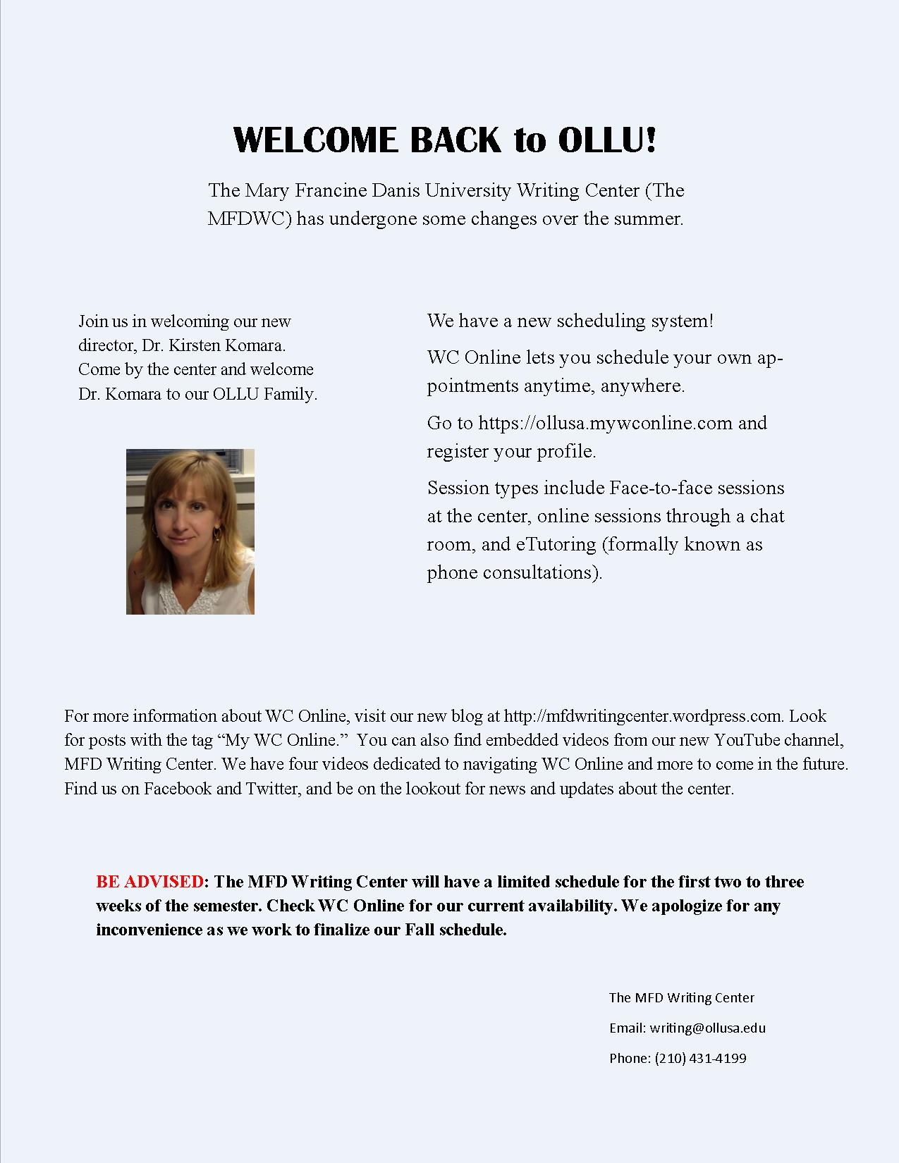ollu engage Engage: Mary Francine Danis Writing Center News